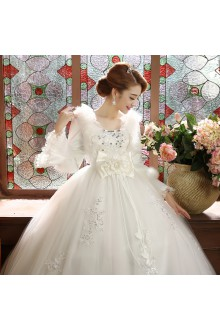 Ball Gown Tulle Wedding Dress with Flower(s)
