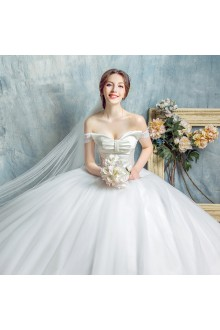 Ball Gown Strapless Tulle Wedding Dress with Sequins