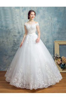 Ball Gown Off-the-shoulder Wedding Dress with Beading