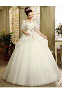 Ball Gown Scoop Tulle Wedding Dress with Flower(s)