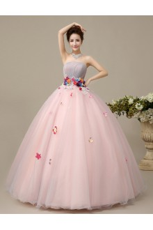 Ball Gown Strapless Tulle Quinceanera Dress with Flower(s)