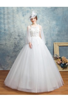 Ball Gown Halter Tulle Wedding Dress with Flower(s)