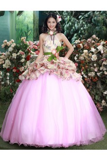 Ball Gown Halter Tulle Quinceanera Dress with Flower(s)