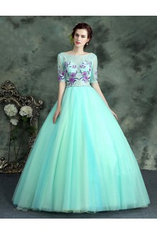 Ball Gown Scoop Tulle Quinceanera Dress with Embroidery