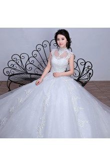 Ball Gown High Neck Lace Wedding Dress with Embroidery