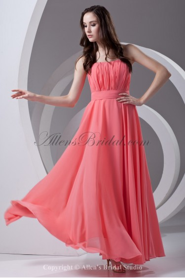 Chiffon Strapless Neckline Column Floor Length Sash Prom Dress