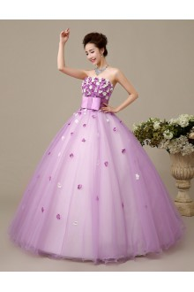 Ball Gown Strapless Tulle Wedding Dress with Flower(s)