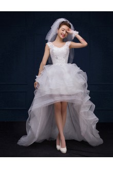 Ball Gown Scoop Lace Wedding Dress with Sequins