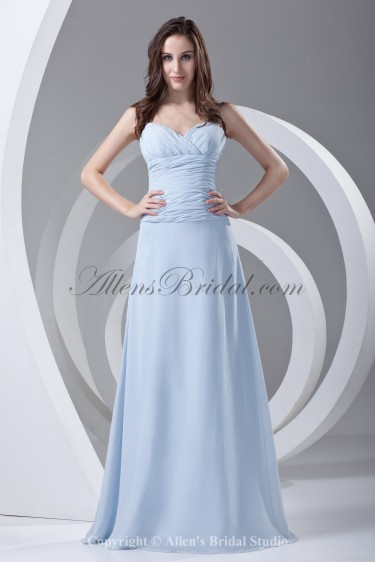 Chiffon Spaghetti Straps Sweep Train A-line Prom Dress