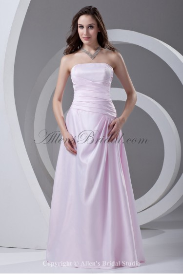 Satin Strapless Neckline A-line Floor Length Directionally Ruched Prom Dress