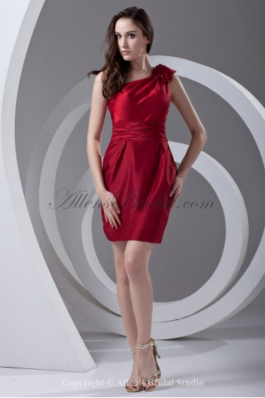 Taffeta One-Shoulder Neckline Sheath Knee Length Flower Cocktail Dress