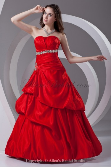 Satin Sweetheart Neckline Ball Gown Floor Length Crystals Prom Dress