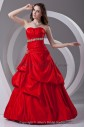 Satin Scoop Neckline A-line Floor Length Embroidered Prom Dress