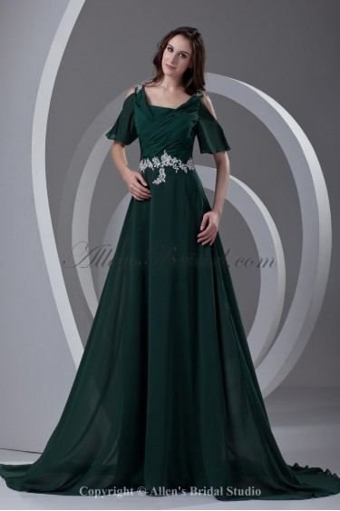 Chiffon Straps Neckline A-line Sweep Train Embroidered Prom Dress