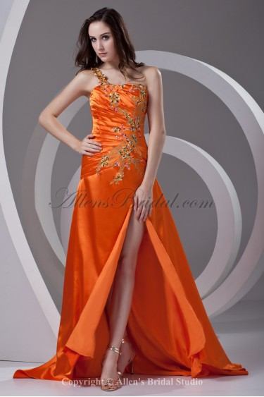 Satin One-Shoulder A-line Sweep Train Embroidered Prom Dress