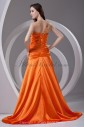 Satin Strapless Neckline A-line Sweep Train Embroidered Prom Dress