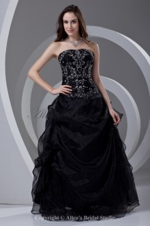 Organza Strapless Neckline A-line Floor Length Embroidered Prom Dress
