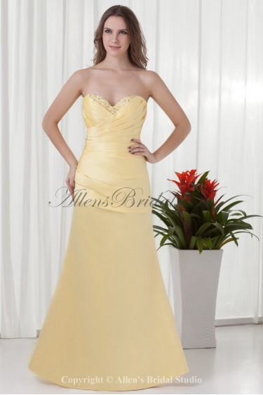 Satin Sweetheart Neckline A-line Floor Length Gathered Ruched Prom Dress