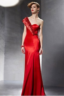 One Shoulder Floor-length Sleeveless Satin Formal Prom / Evening Dress