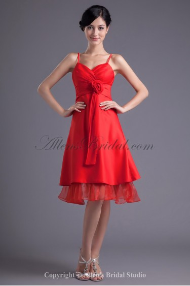 Satin and Organza Spaghetti Neckline A-Line Knee-length Flower Cocktail Dress
