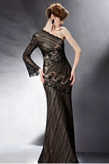 One Shoulder Floor-length Long Sleeve Lace,Satin Formal Prom / Evening Dress