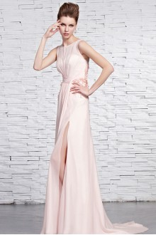 Bateau Floor-length Sleeveless Tulle,Chiffon Formal Prom / Evening Dress