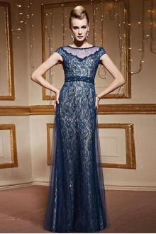 Scoop Floor-length Short Sleeve Lace Formal Prom / Evening Dress