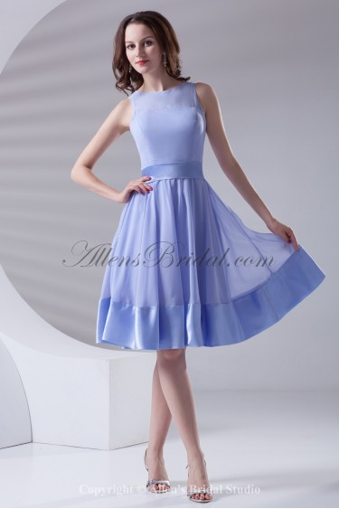 Chiffon Jewel Neckline A-Line Knee Length Sash Cocktail Dress