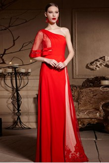 One Shoulder Floor-length Sleeveless Chiffon,Satin Formal Prom / Evening Dress