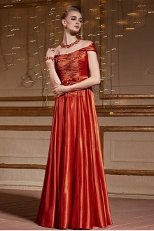 Off-the-shoulder Floor-length Sleeveless Satin Formal Prom / Evening Dress