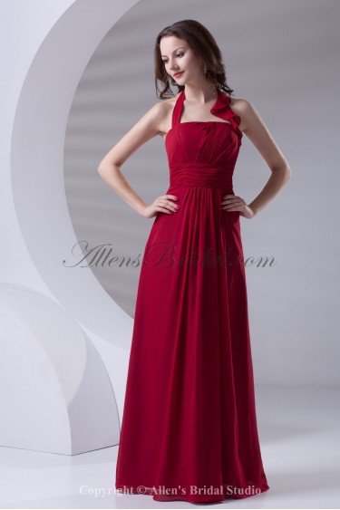 Chiffon Halter Neckline A-Line Floor Length Prom Dress