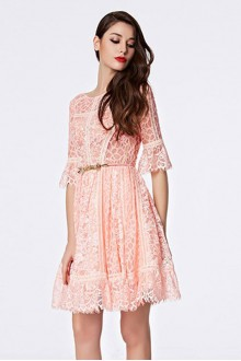 Scoop Short / Mini Half Sleeve Lace Cocktail Party Dress