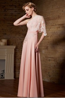 One Shoulder Floor-length Sleeveless Chiffon Formal Prom / Evening Dress