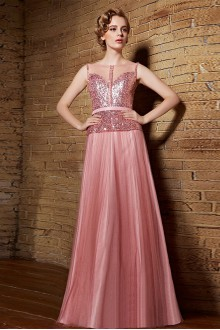 Bateau Floor-length Sleeveless Tulle Formal Prom / Evening Dress