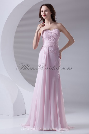 Chiffon Sweetheart Neckline Sheath Floor Length Embroidered Prom Dress