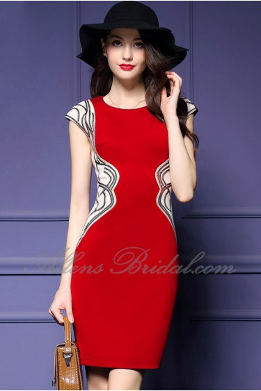 Sheath / Column Knee-length Short Sleeve Scoop Embroidery,Sequins Mother of the Bride Dress