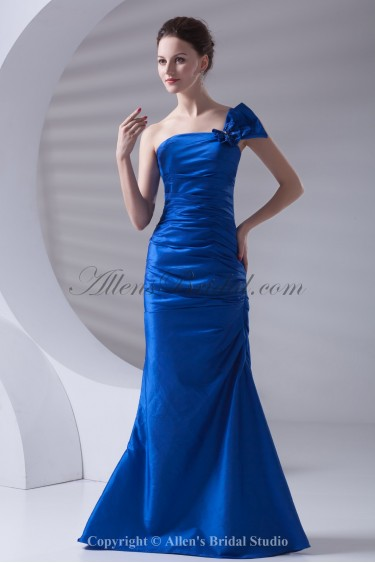 Taffeta One-Shoulder Neckline Mermaid Floor Length Bow Prom Dress