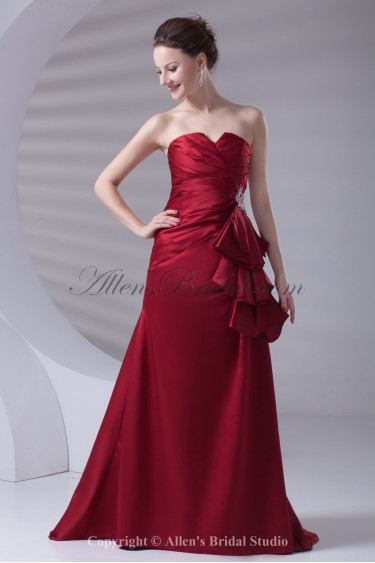 Satin Strapless A-line Floor Length Ruched Prom Dress