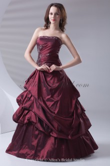 Taffeta Strapless Neckline A-line Floor Length Embroidered Prom Dress