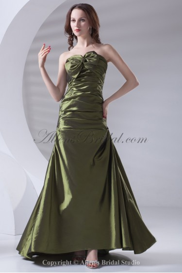 Taffeta Strapless Neckline A-line Floor Length Directionally Ruched Prom Dress
