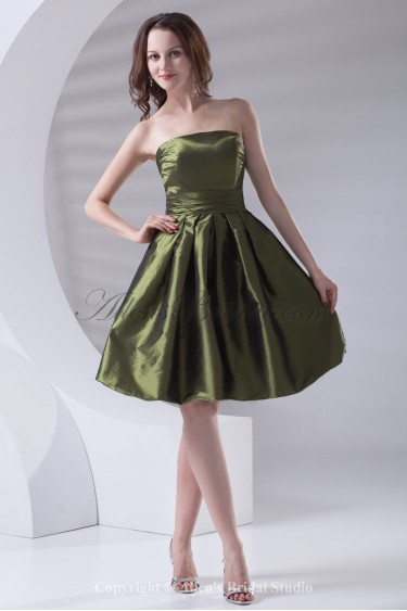 Taffeta Strapless Neckline A-line Knee Length Cocktail Dress