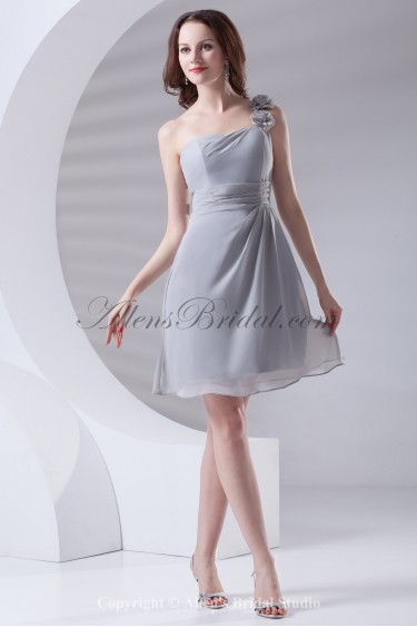 Chiffon One-shoulder Neckline Sheath Knee-Length Flowers Cocktail Dress
