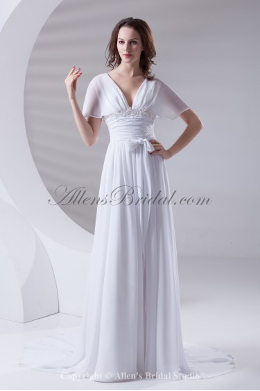 Chiffon V-Neckline Column Sweep Train Short Sleeves Prom Dress