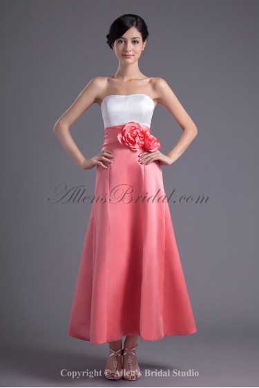 Satin Strapless Neckline A-line Ankle-Length Hand-made Flowers Prom Dress