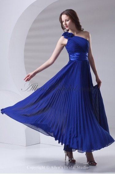 Chiffon Asymmetrical Neckline Column Ankle-Length Flowers Prom Dress