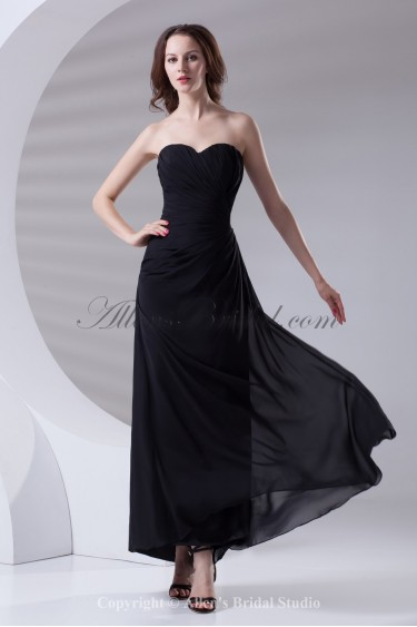 Chiffon Sweetheart Neckline Sheath Ankle-Length Gathered Ruched Prom Dress
