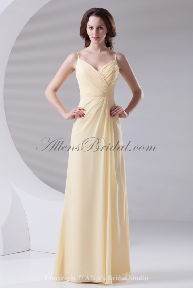 Chiffon Spaghetti Neckline Column Floor Length Prom Dress