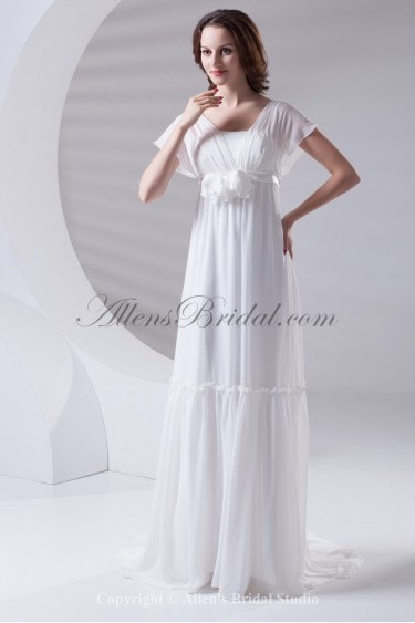 Chiffon Square Neckline Column Sweep Train Flower Prom Dress