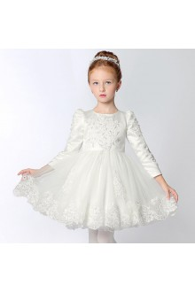 Long Sleeve A-line Flower Girl Dress