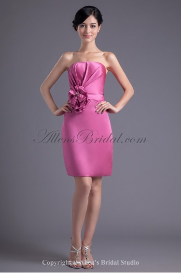 Satin Strapless Neckline Column Knee-length Hand-made Flower Cocktail Dress